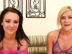 Two young teens get gangbanged and cummed all over HD