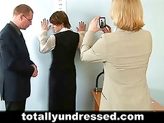 Nude job interview for shy secretary