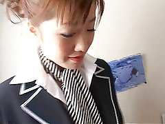 Japanese stewardess with collar over collar