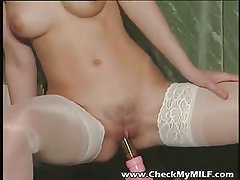 Gorgeour soccer MILF in lacy stockings playing with dildo