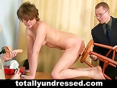 Young secretary during nude job interview