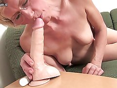 Amateur blonde mother and her toy