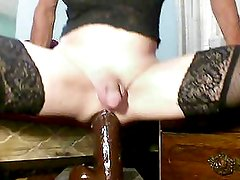 sissy anal slut using gaping ass with big black dildos