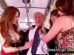 Japanese girls and old man on Bus (dmm.co.jp)