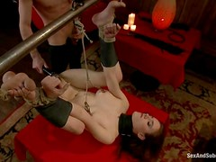 Iona Grace enjoys a doggy style bondage sex