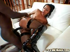 Sexy ebony in stockings gets her black man sweating