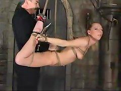 Slim blonde chick gets punished by some old dude