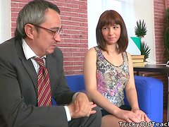 Brunette Elena gets her shaved pussy fucked by old dude
