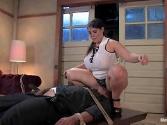Curvaceous Daphne Rosen humiliates and toys Black guy