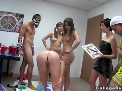 Horny college chicks get fucked after playing twister