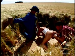 Lucy Love gets double penetrated and facialed in the field