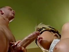 Blindfolded Brooke Haven blows a dick and gets fucked rough