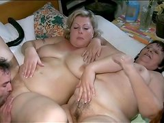 Chubby girls in foreplay threesome are hot