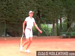 Aria Valentino plays tennis outdoors