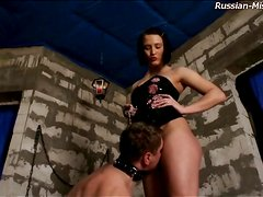 Mistress abuses him beautifully in dungeon