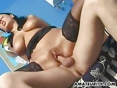 Busty brunette girlfriend sucks and fucks with facial