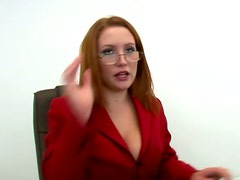 Doggystyle Fucking in the Office for Busty Redhead Boss Rebecca Lane