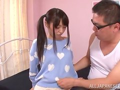 Pigtailed Japanese Teen Minami Hirahar Gets Creampie in Her Shaved Pussy