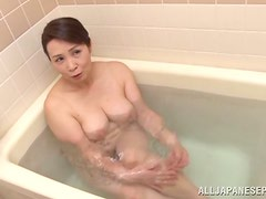 Soapy Fun in the Bathroom with Cock Sucking Mature Japanese Tuuko Kuremach