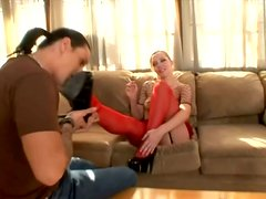 Pony-Tailed Blonde Annette Schwarz Footjobs in Red Pantyhose and Fucks