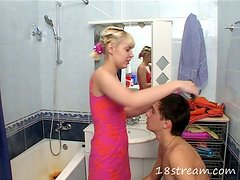 Banging the Skinny Blonde Teen in the Bathroom after Hair Cut