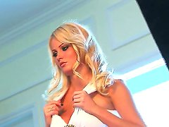 Adorable glamorous blonde stunner Hanna Hilton with big tits and blue eyes in stockings and