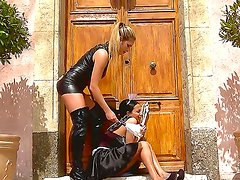 Dreamy babe Anissa punishes gorgeous Eva by beating  and humiliating her in between shifts. After a nice