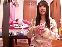 Innocent looking naive black haired japanese teen Tsubomi with natural boobies and cute ass in