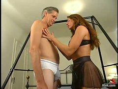 Grey-Haired Dude Getting Dominated in Freaky Femdom Vid by Kym Wilde