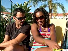 Funny Interracial Sex with Ebony Ms Platinum Outdoors on Trampoline