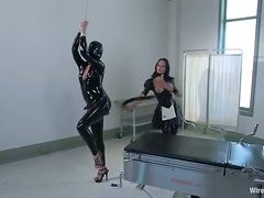 Latex Fetish Action in Lesbian Femdom Video with Strapon Sex