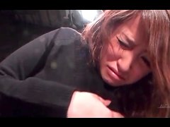 Japanese girl in black sweater groped in close up
