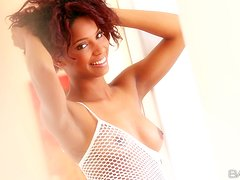 Charming black girl Spencer Bliss poses for the cam in her birthday suit
