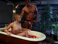 Gorgeous blond milf is going to fall in love with a huge black cock