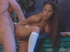 Jenaveve Jolie is fucking outdoors on the bench