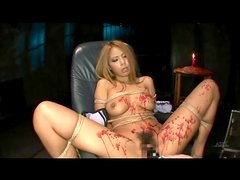 Big boobs Japanese babe in bondage takes toy