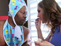 Naughty cosplay of brutish black stud and sultry Caucasian mom
