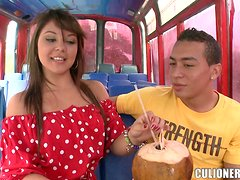 Cute Nataly lifts the dress up and rides a dick in a bus