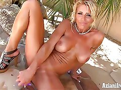 Nasty Fitness MILF Gina strips out of her jean shorts