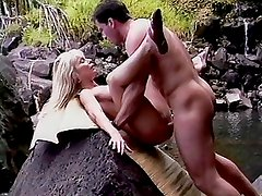 Horny blond fucked at nature wild waterfall