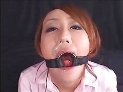 a glass, a blowjob and a mouth spreader
