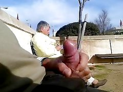 dickflash in front of a granny
