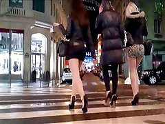 Group girls in mini skirt and high heels