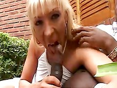 Beautiful Blonde Shemale Fucking Huge Black Pole