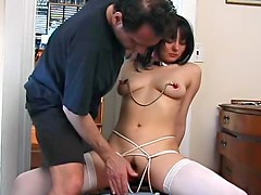 Nipple torture with weights off tits