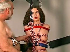 Bondage couple has kinky girl to play with