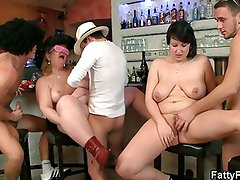 Hot bar orgy with plump bitches