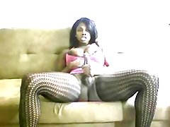 Black Tranny Jerks Her BBC Until It Cums