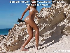 40cm deep in ass anal dong on the public beach HOTKINKYJO