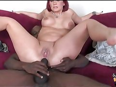 Black guy fucks white mom into the ass in front of son
